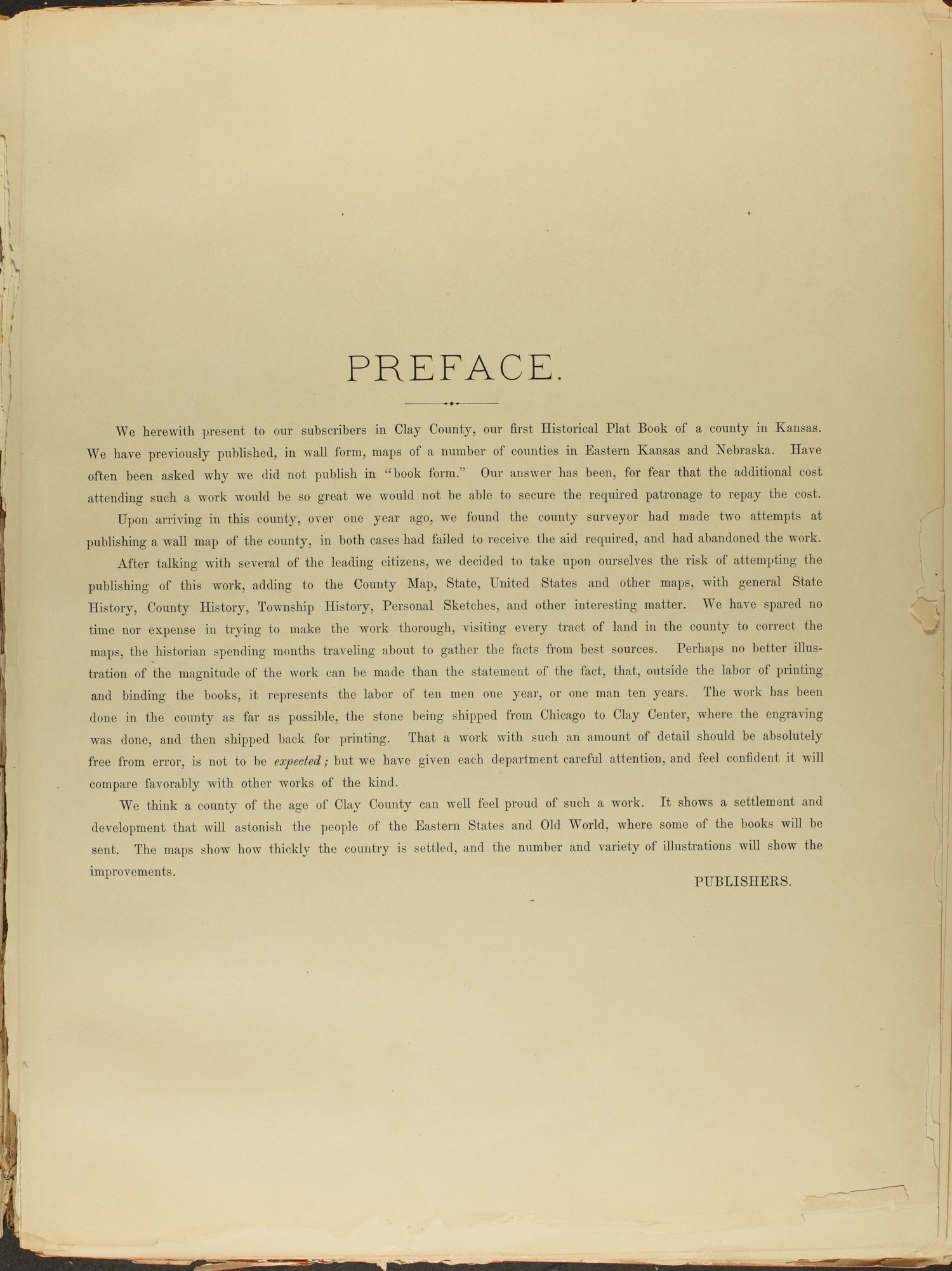 Historical plat book of Clay County, Kansas - Preface