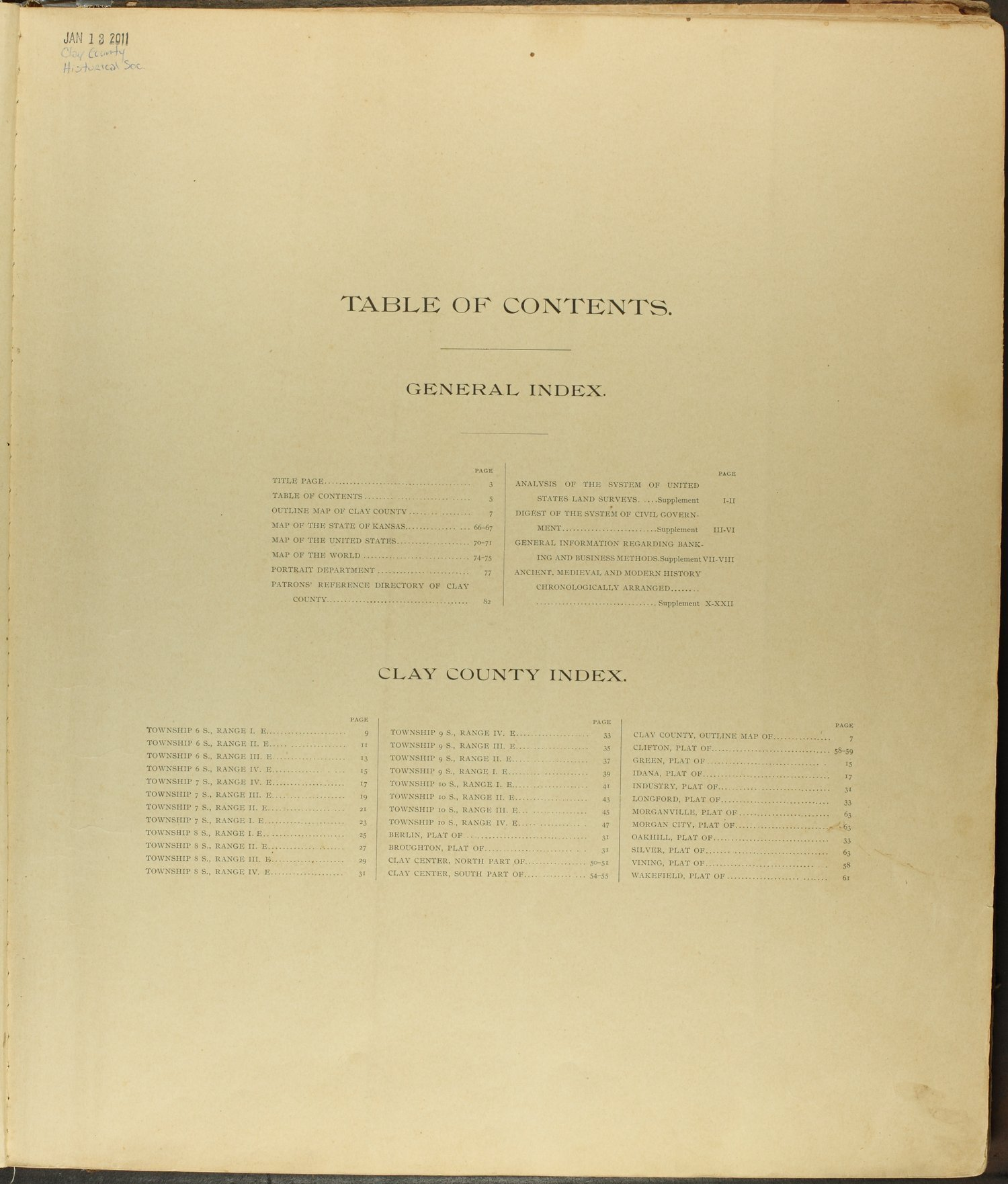 Standard atlas of Clay County, Kansas - Table of Contents