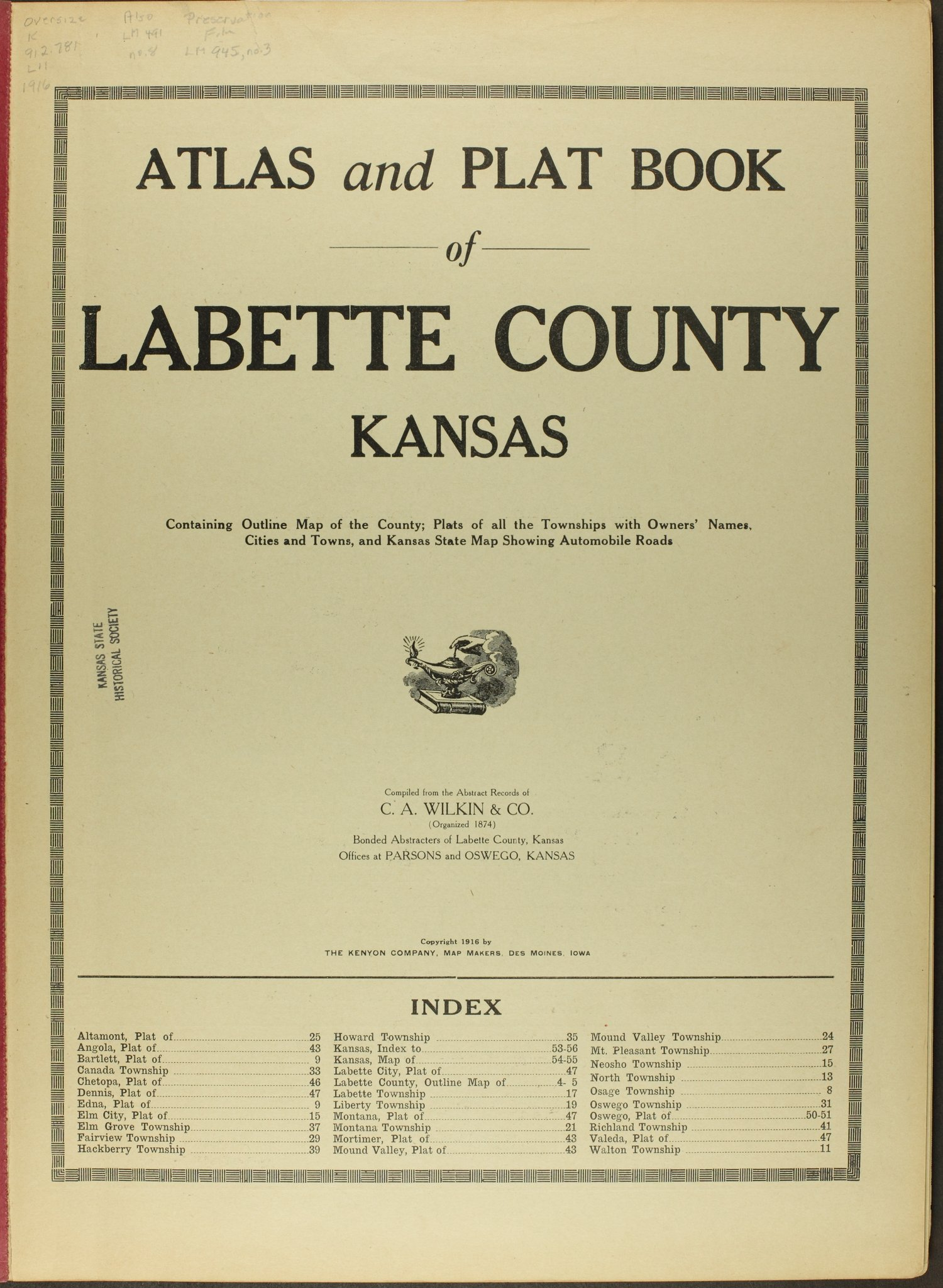 Atlas and plat book of Labette County, Kansas - Title Page