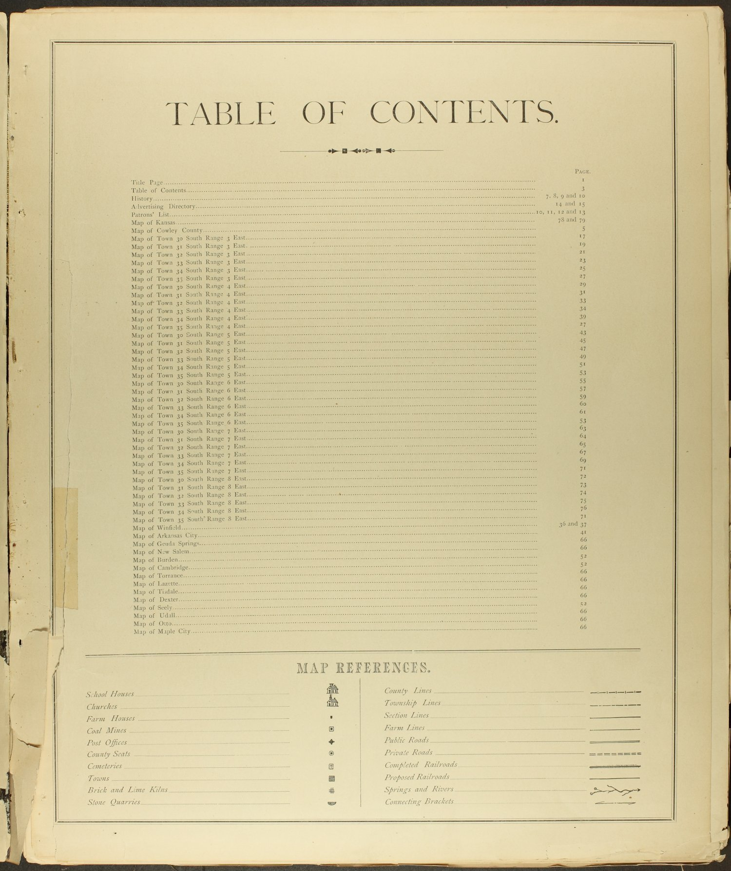 Historical atlas of Cowley County, Kansas - Table of Contents