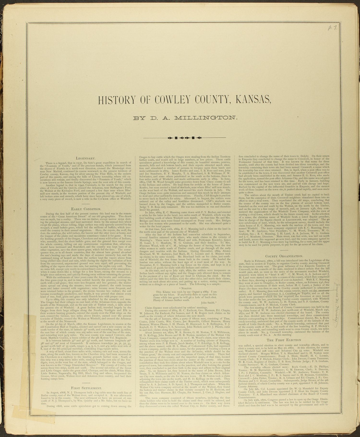Historical atlas of Cowley County, Kansas - 7