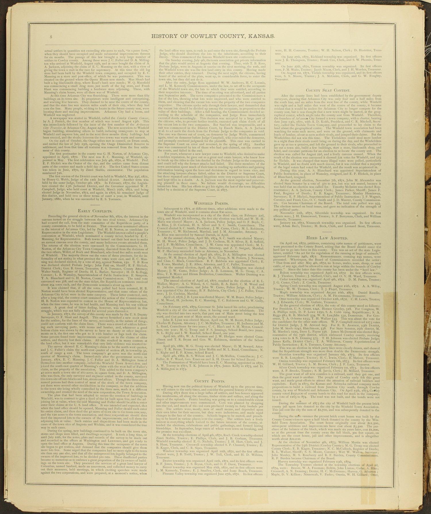 Historical atlas of Cowley County, Kansas - 8