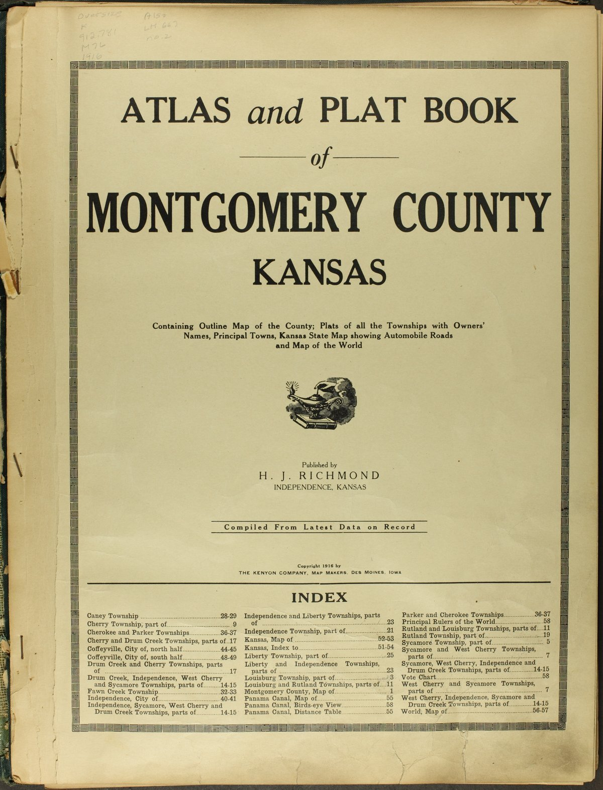 Atlas and plat book of Montgomery County, Kansas - Title Page