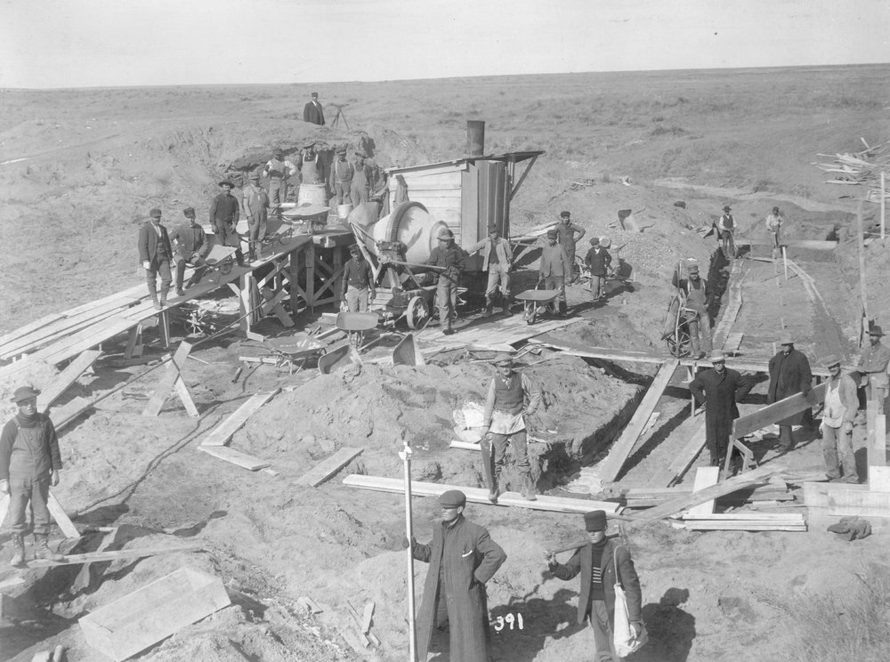 Concrete works on the Great Eastern Canal in Finney County, Kansas