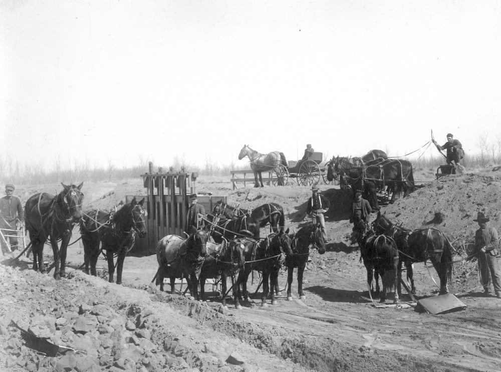 Construction of canal near headgate on farmers' ditch in Finney County, Kansas