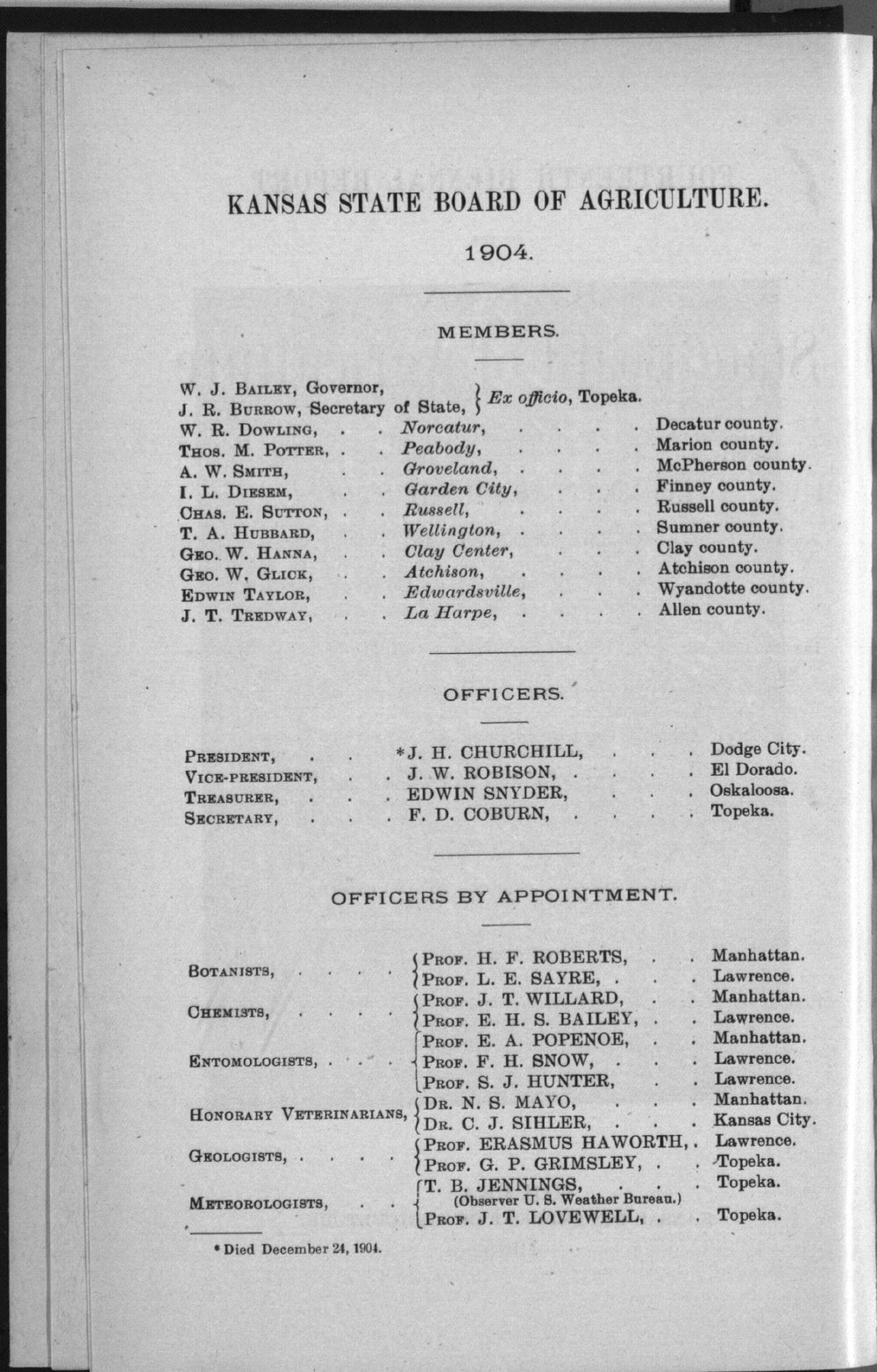 Transactions of the Kansas State Board of Agriculture, 1903-1904 - Board Members