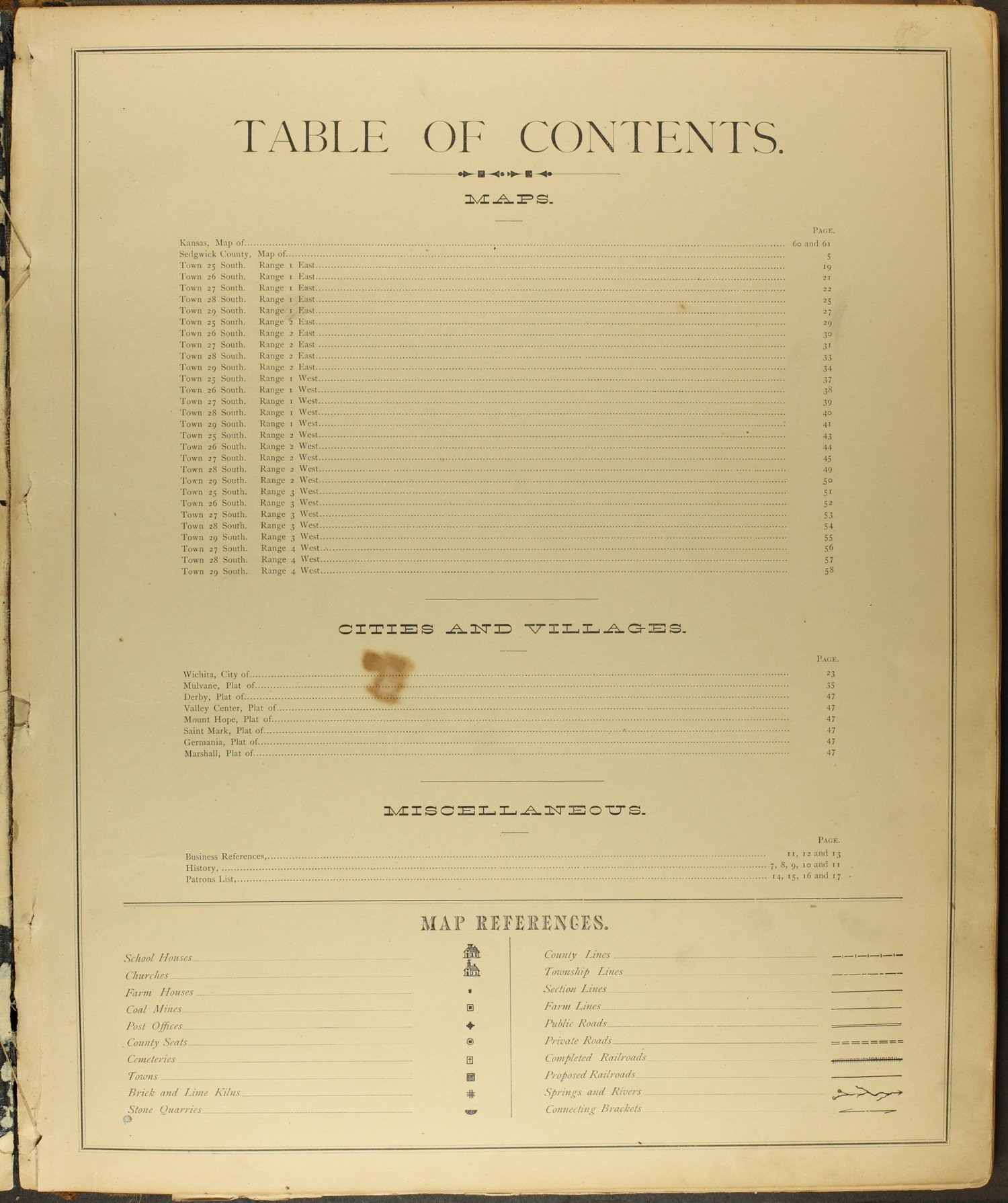 Historical Atlas of Sedgwick County, Kansas - Table of Contents