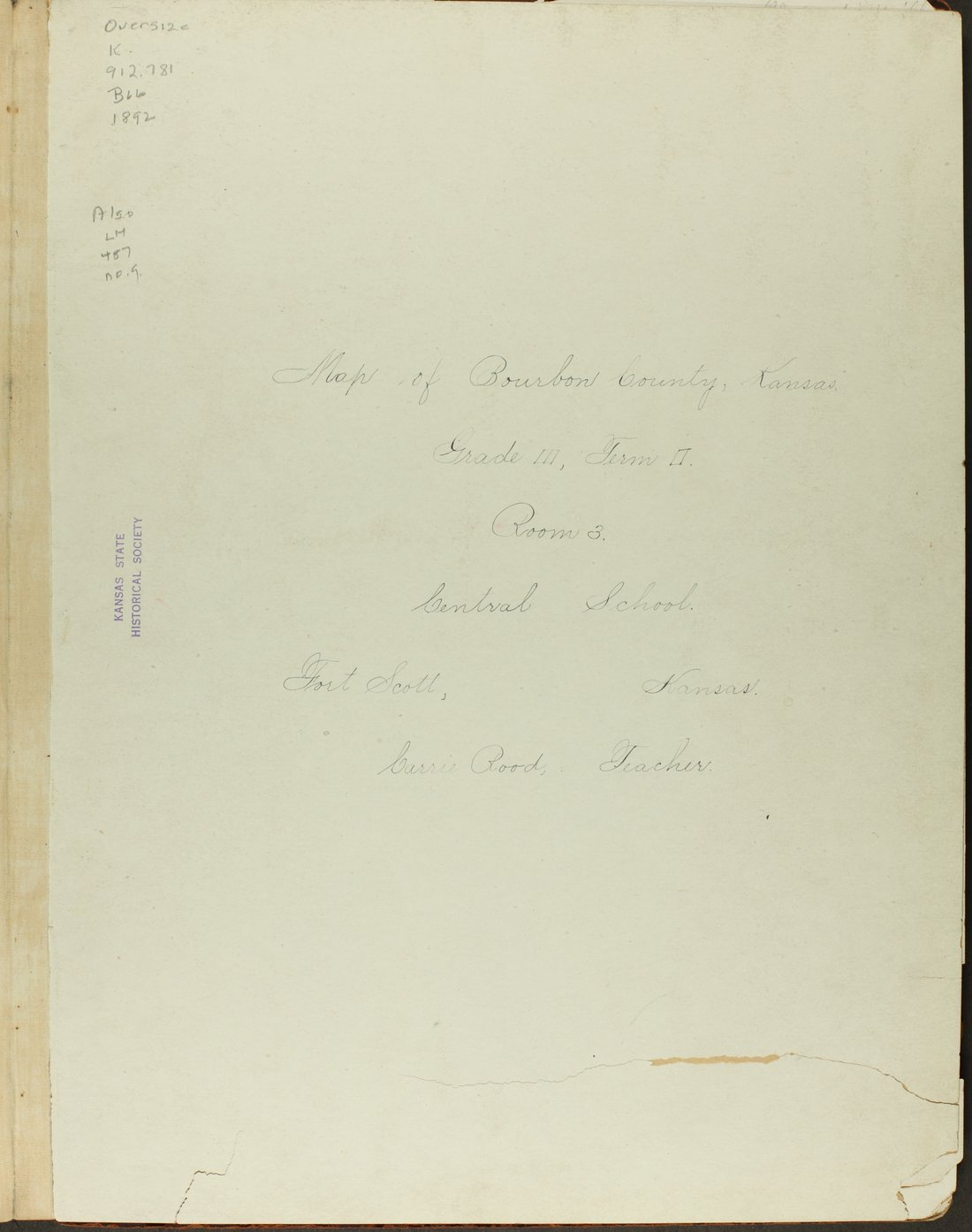 Map of Bourbon County, Kansas - Title Page