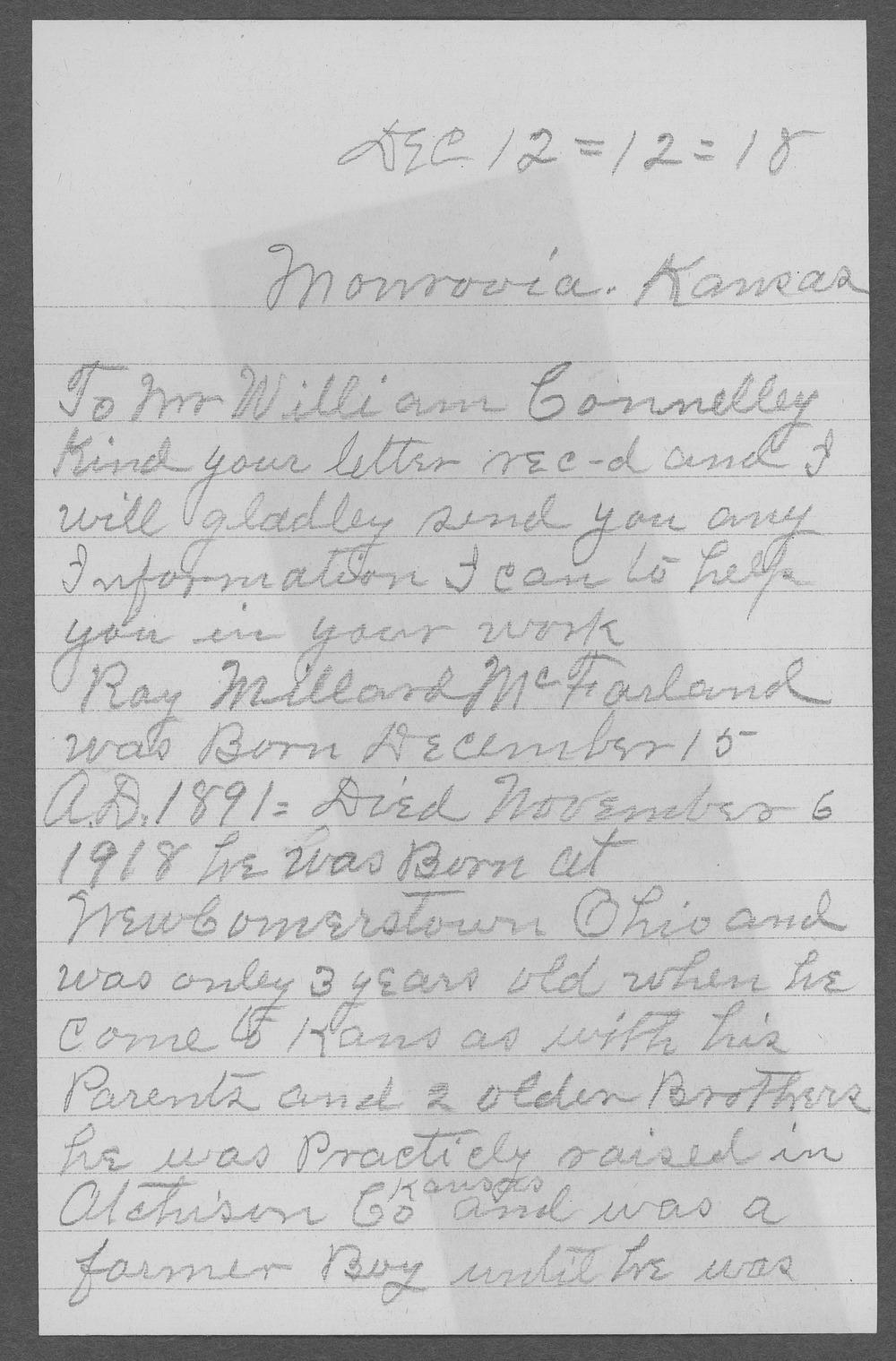 Ray Millard McFarland, World War I soldier - 2