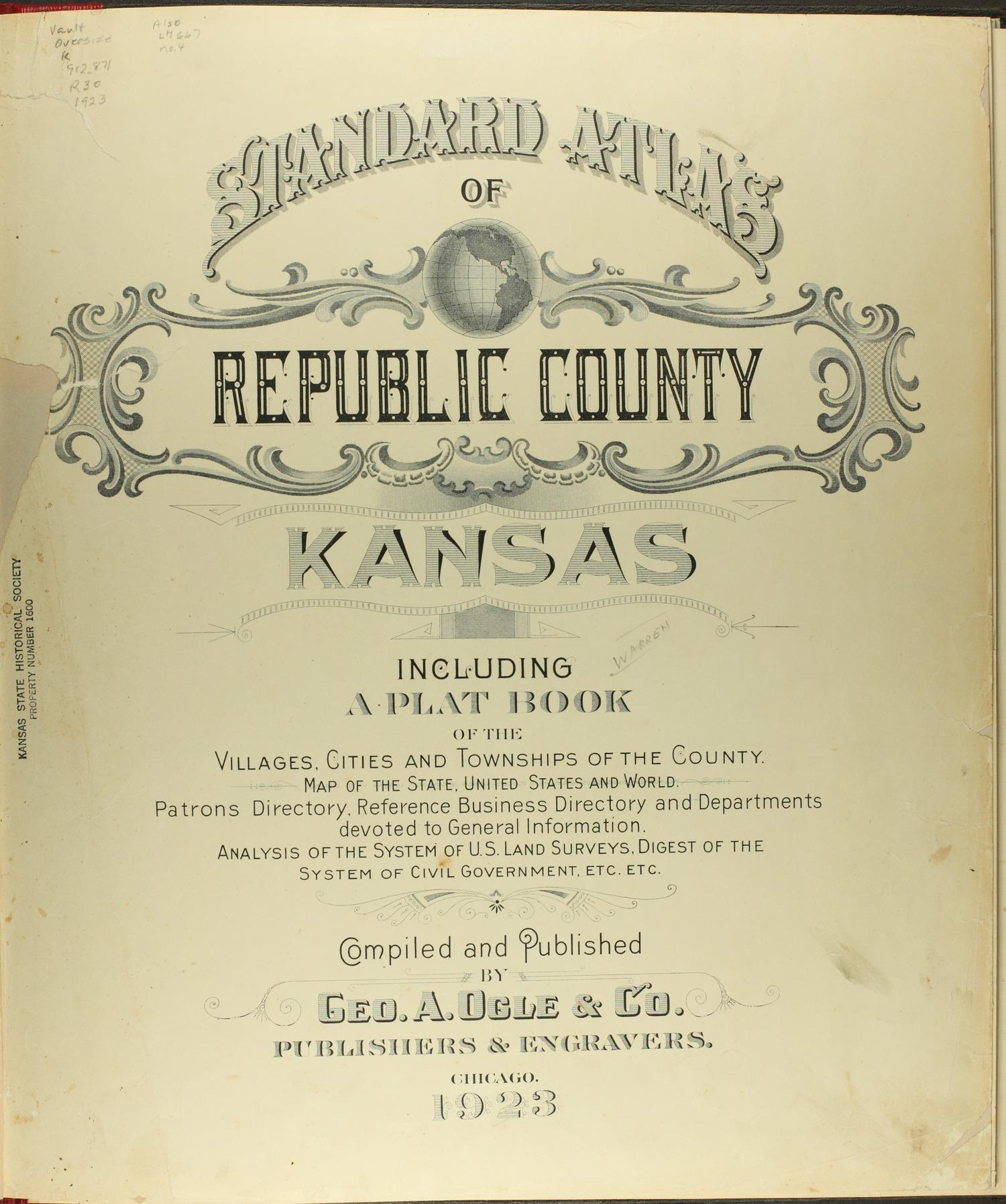 Standard atlas of Republic County, Kansas - Title Page