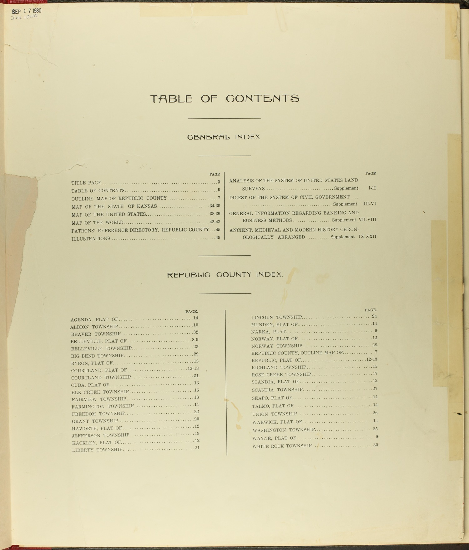 Standard atlas of Republic County, Kansas - Table of Contents