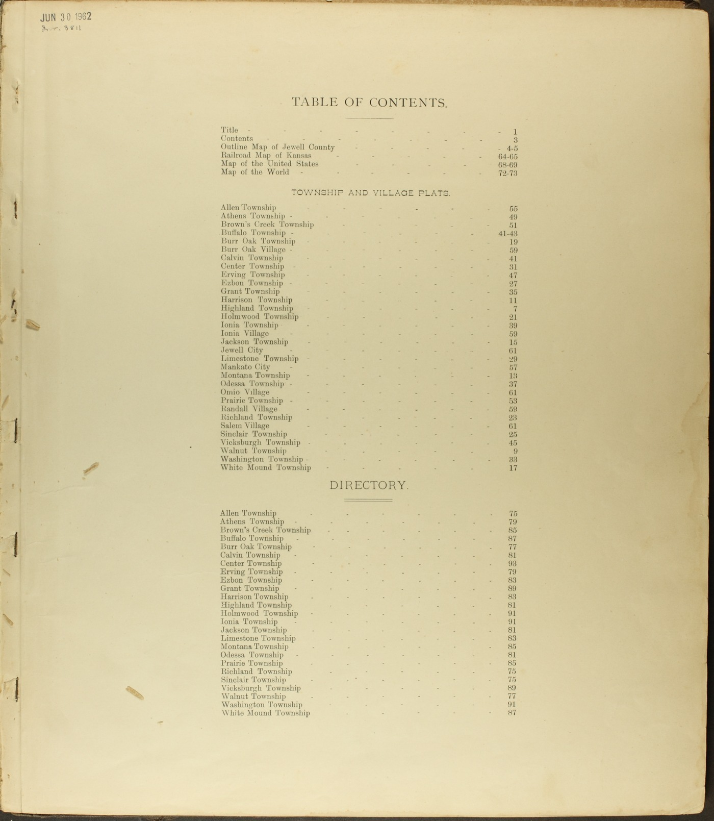Atlas of Jewell County, Kansas - Table of Contents