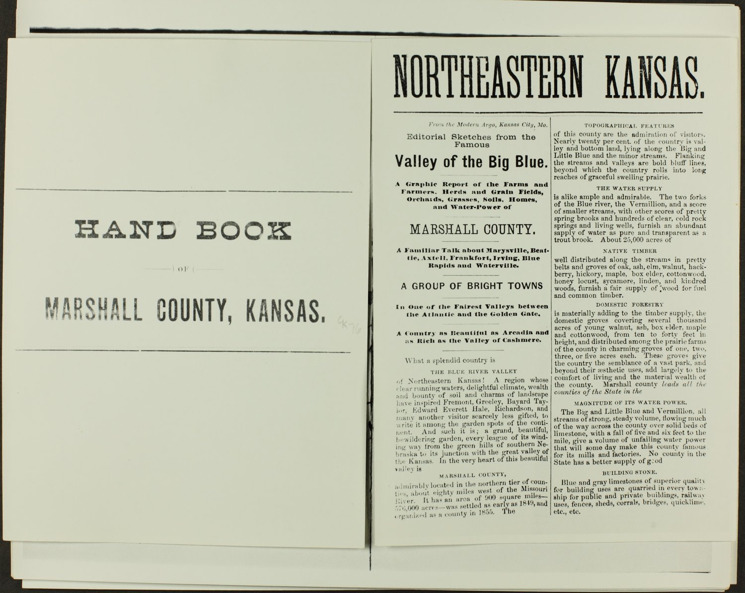 Handbook of Marshall County, Kansas - Title Page and Page 1