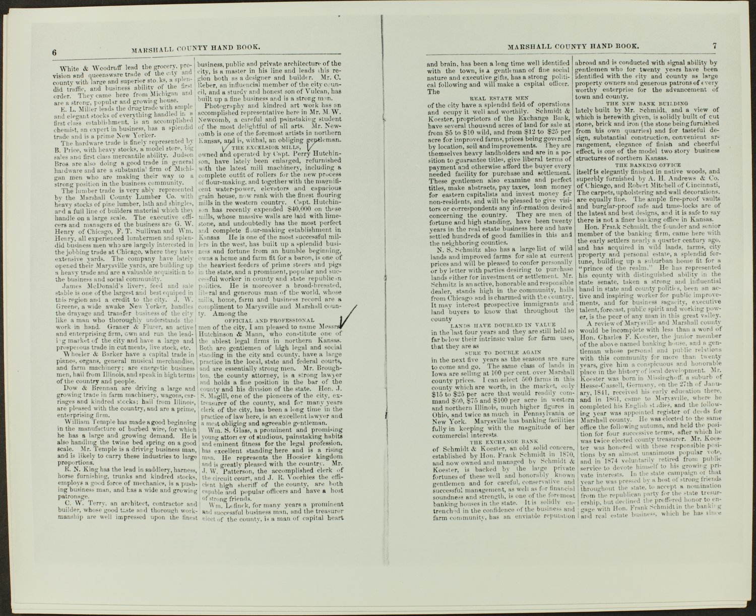 Handbook of Marshall County, Kansas - Pages 6 & 7