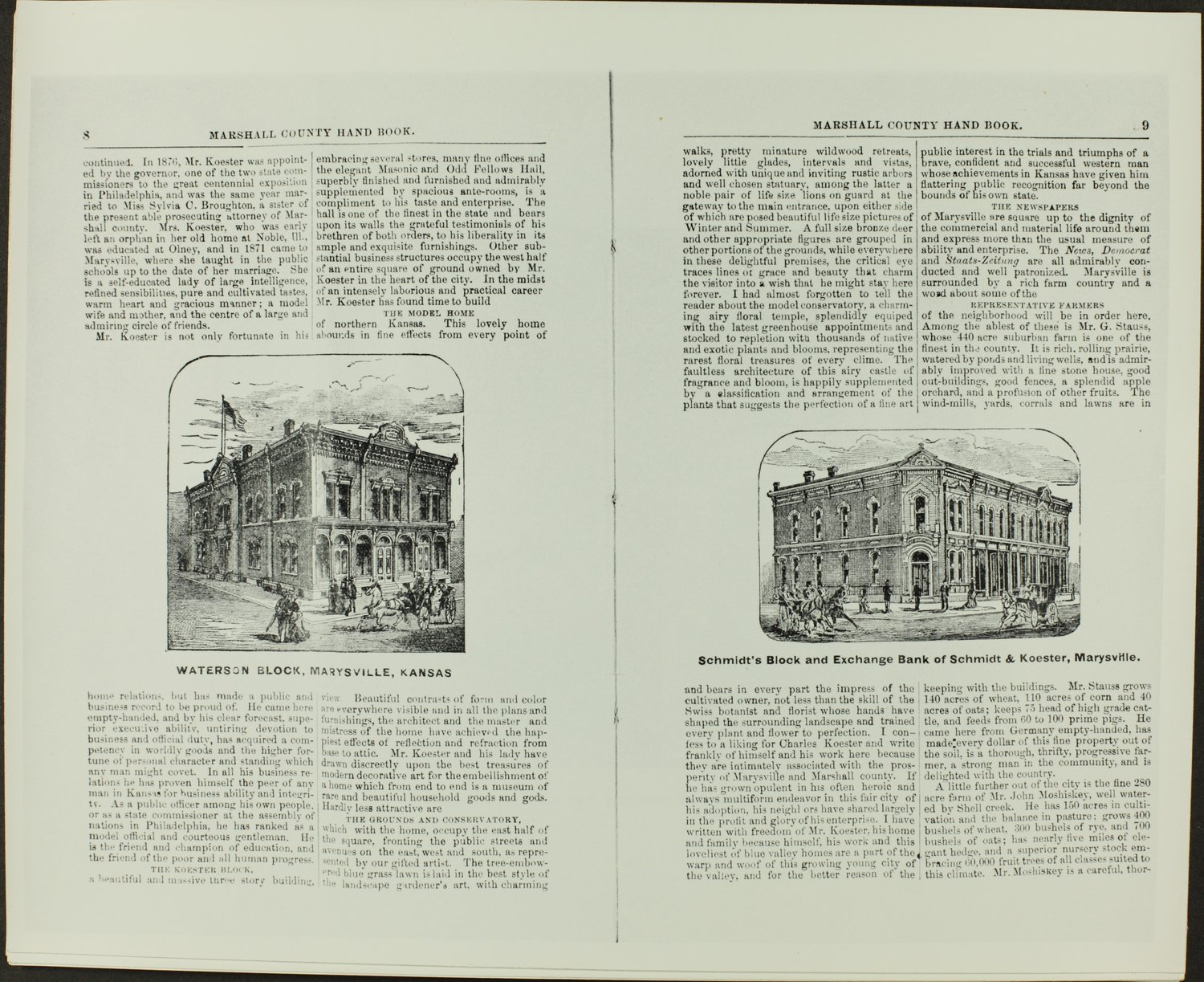 Handbook of Marshall County, Kansas - Pages 8 & 9