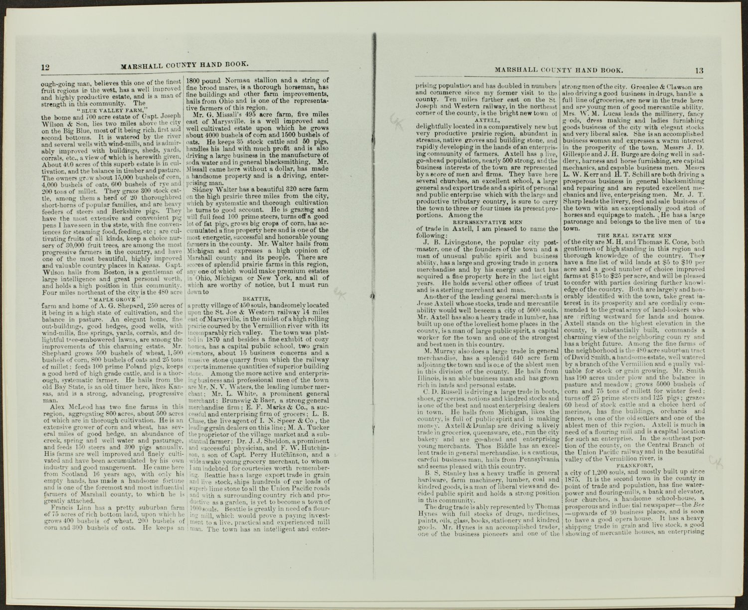 Handbook of Marshall County, Kansas - Pages 12 & 13