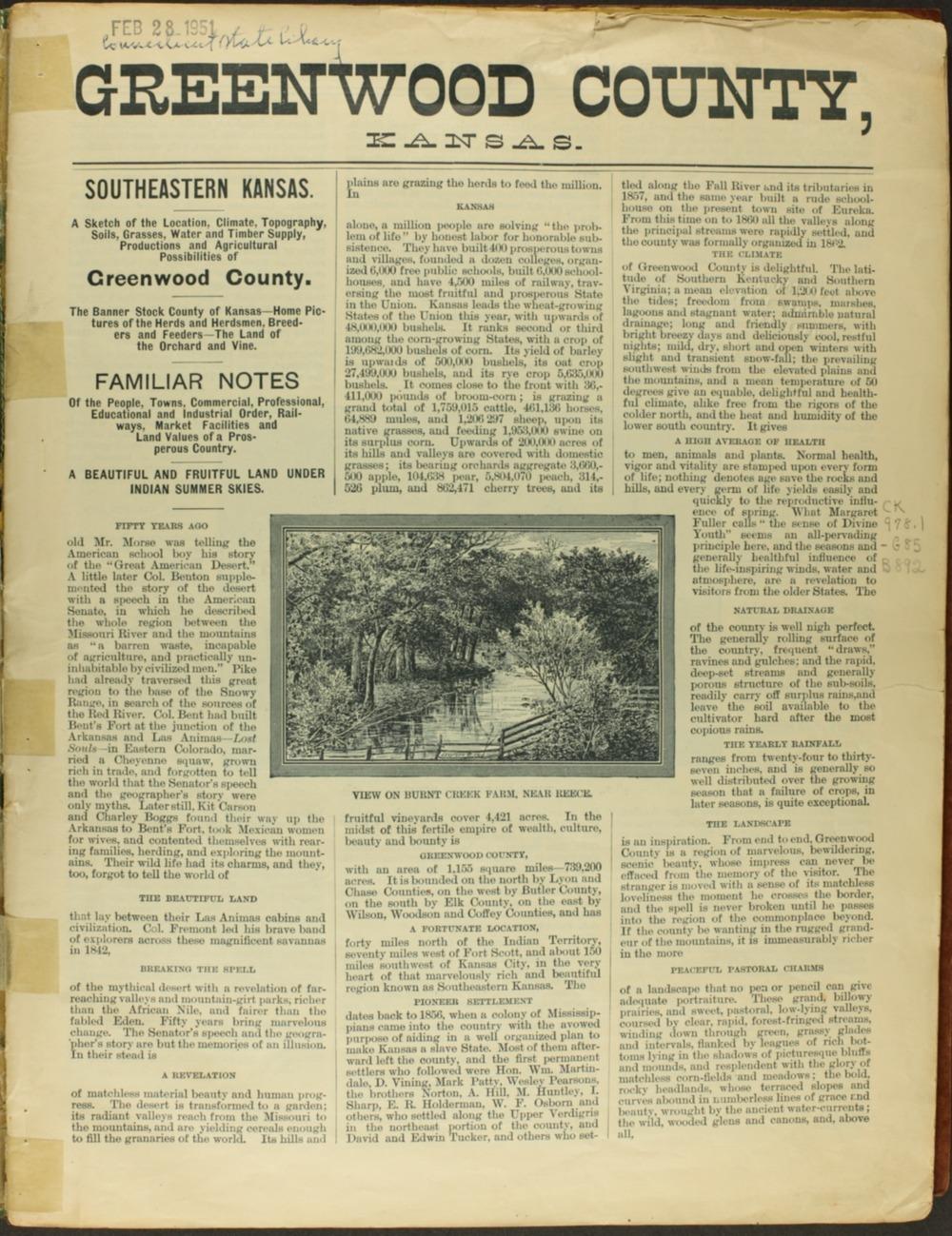 Handbook of Greenwood County, Kansas - 1