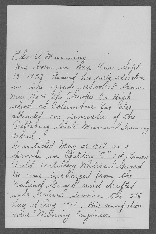 Edward A. Manning, World War I soldier - 1