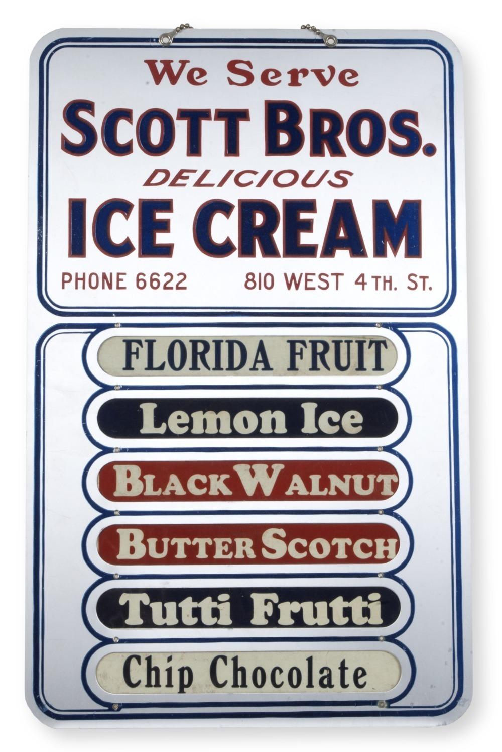 Scott Brothers Ice Cream sign