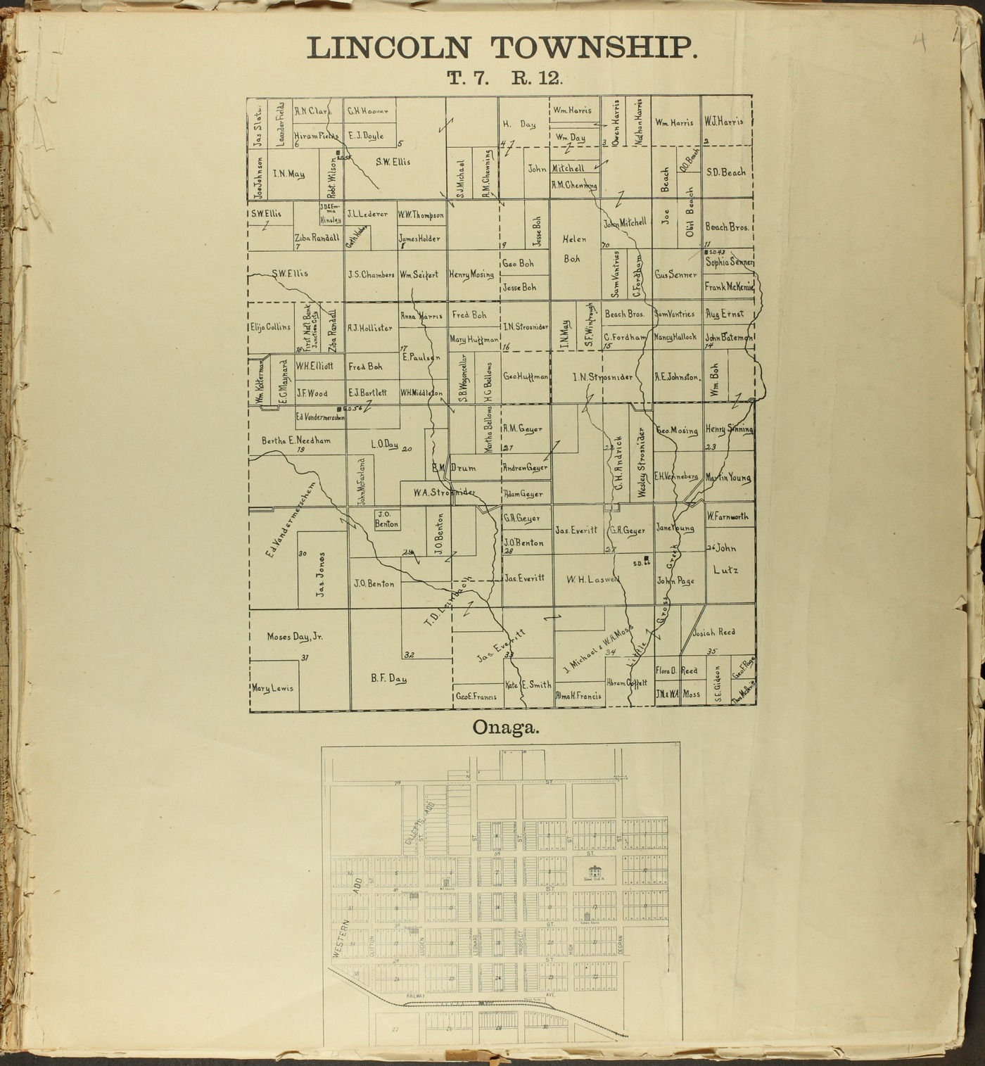 The Onaga courier's sectional township map of Pottawatomie County, Kansas - 3