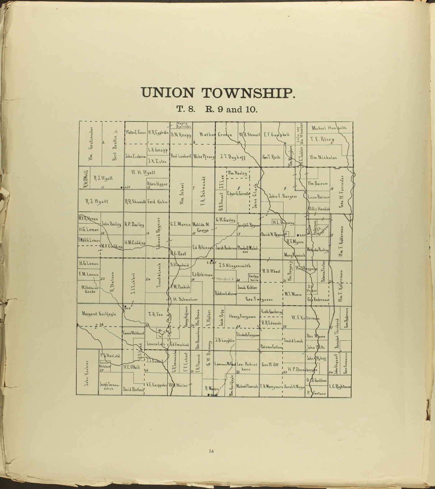 The Onaga courier's sectional township map of Pottawatomie County, Kansas - 42