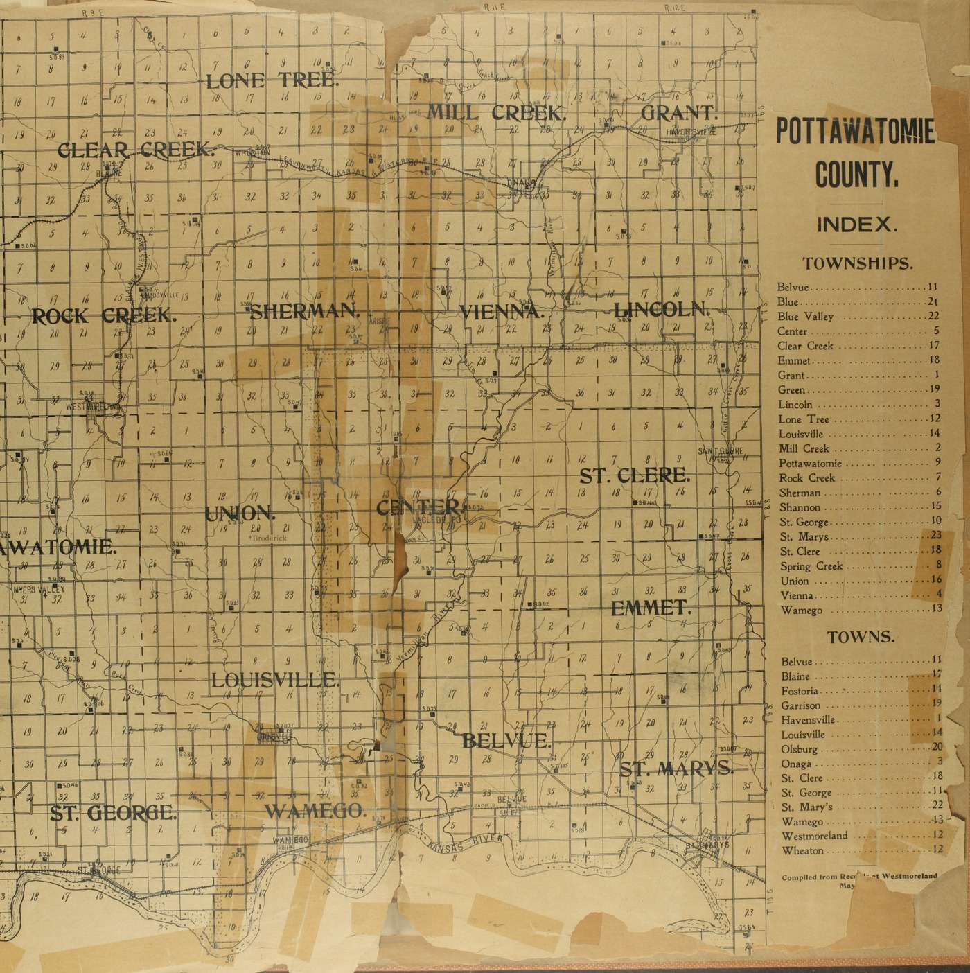 The Onaga courier's sectional township map of Pottawatomie County, Kansas - Map of Pottawatomie County
