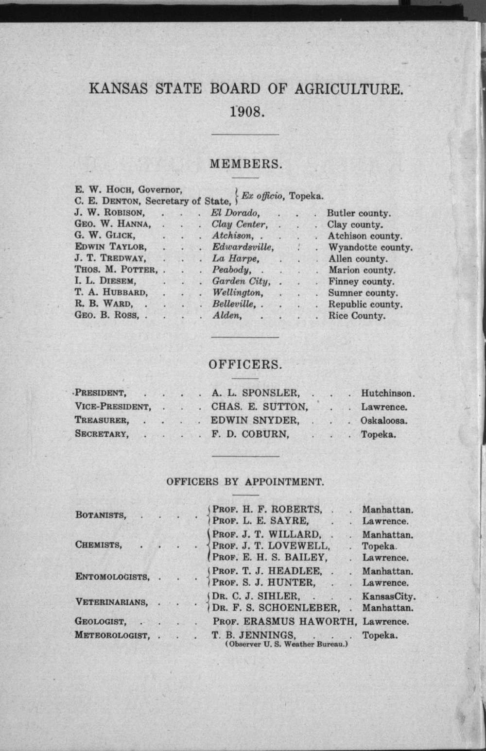 Sixteenth biennial report of the Kansas State Board of Agriculture, 1907-1908 - Board Members