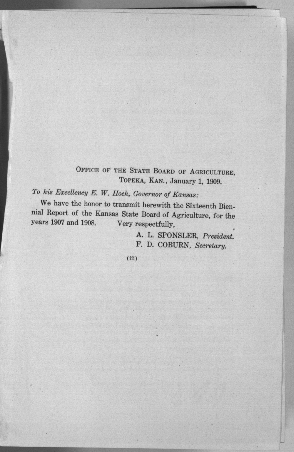 Sixteenth biennial report of the Kansas State Board of Agriculture, 1907-1908 - Letter of Transmittal
