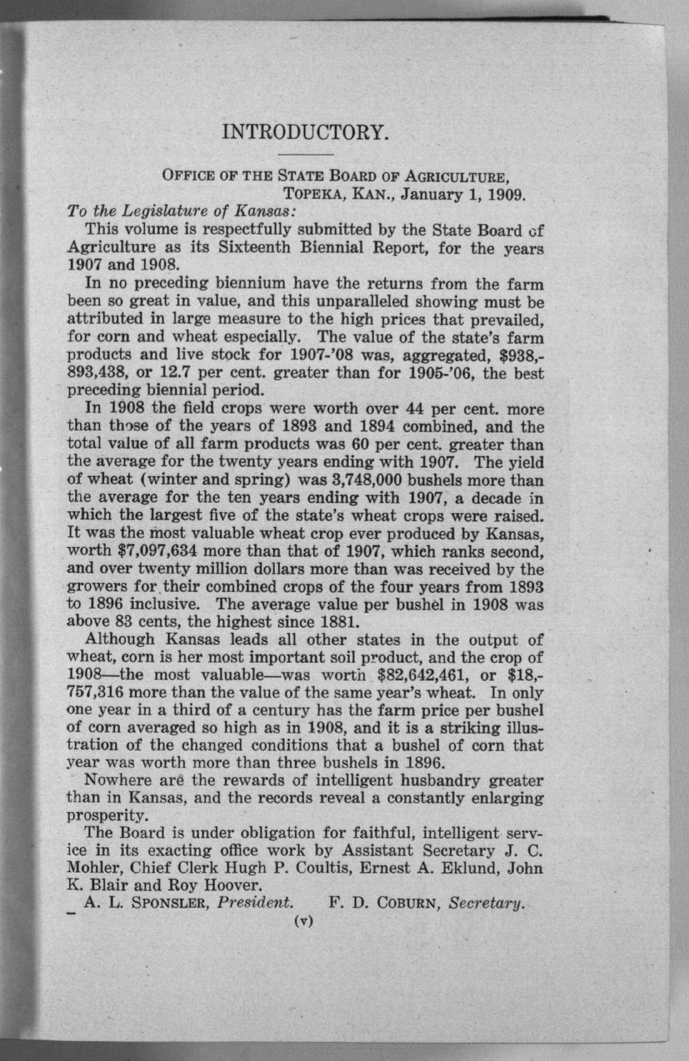 Sixteenth biennial report of the Kansas State Board of Agriculture, 1907-1908 - Introductory