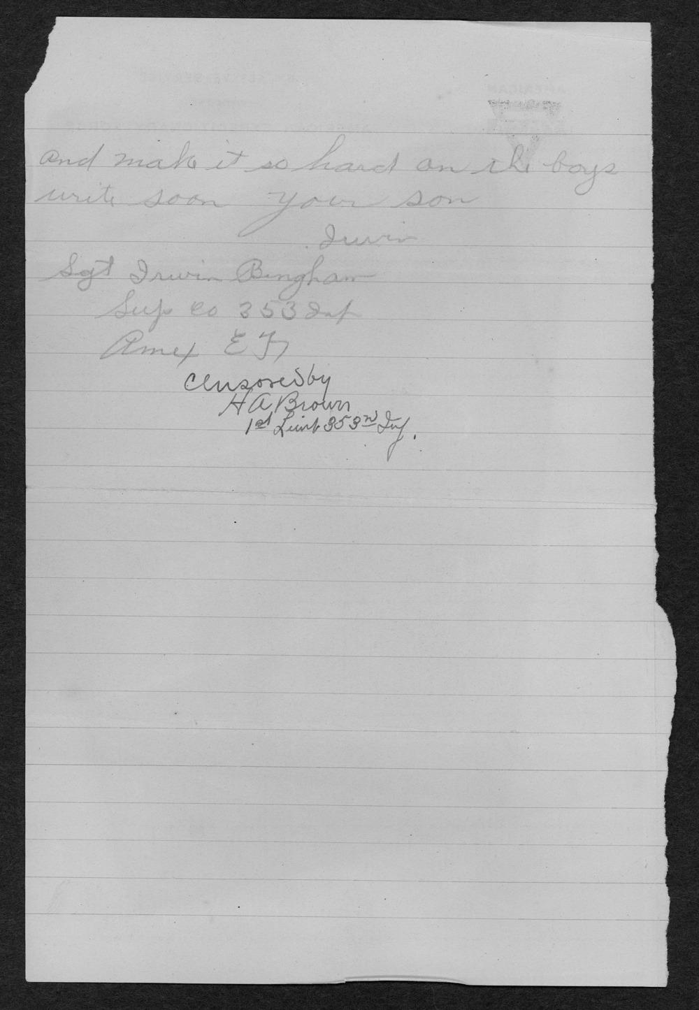Irwin G. Bingham, World War I soldier - 22