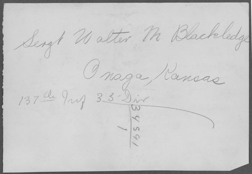 Walter McKinley Blackledge, World War I soldier - 4