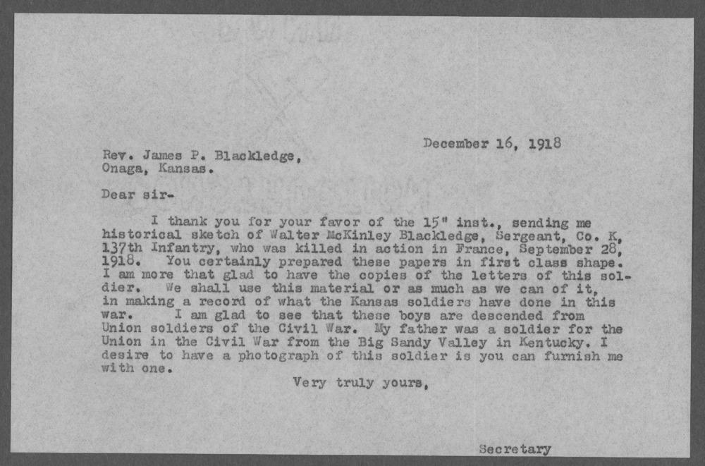 Walter McKinley Blackledge, World War I soldier - 12