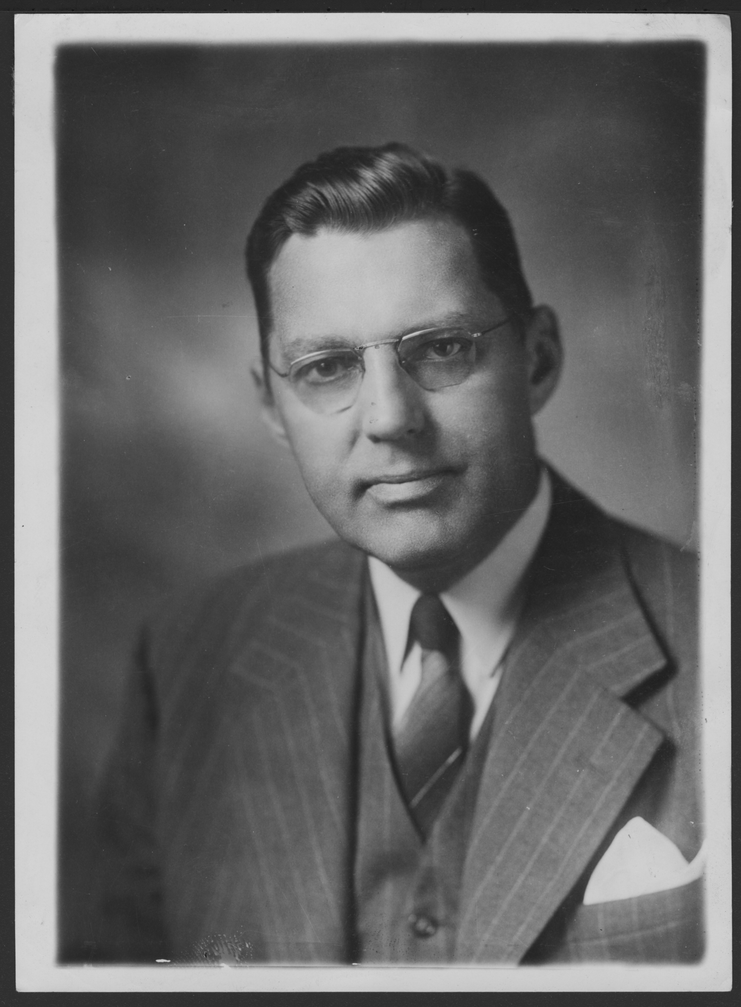 Menninger photograph collection - #1865 David Neiswanger (1892-1963).  Trustee and President and Vice-chairman of the TMF Board., 1947 portrait