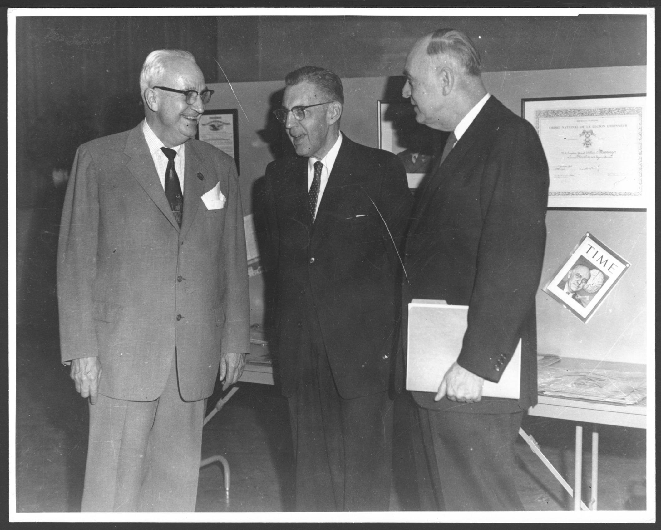 Menninger photograph collection - #1865  Dr. Karl, David Neiswanger, Dr. Will in 1959