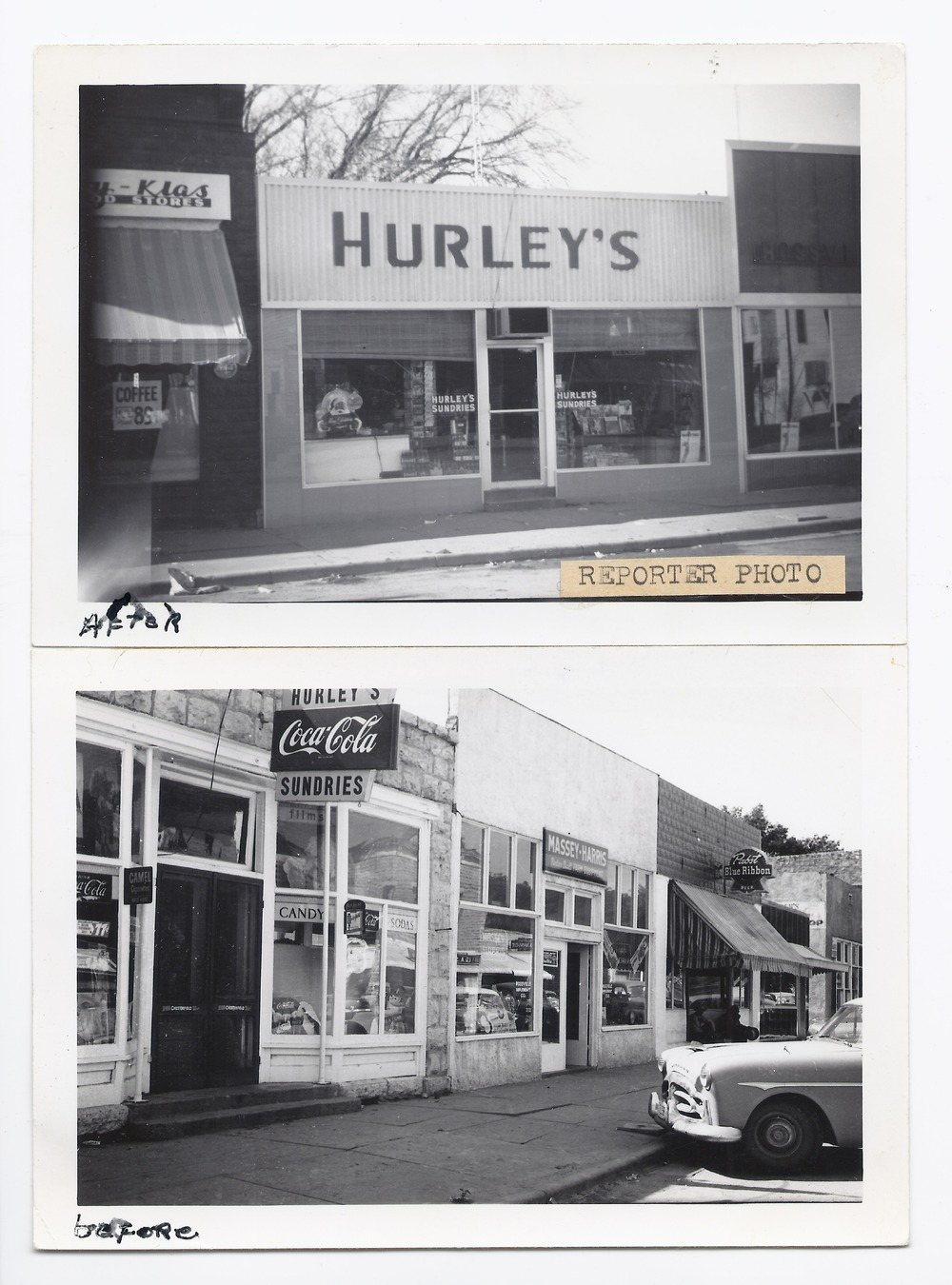 Before and after pictures of Hurley's Sundries store, Rossville, Kansas