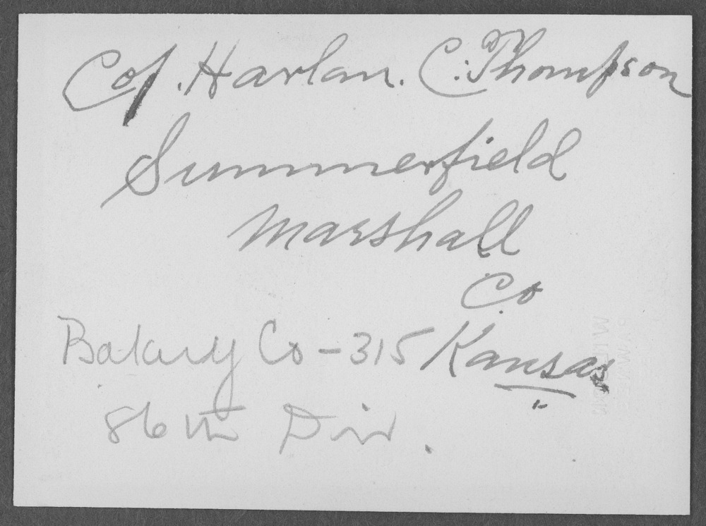 Harlan Clare Thompson, World War I soldier - 2