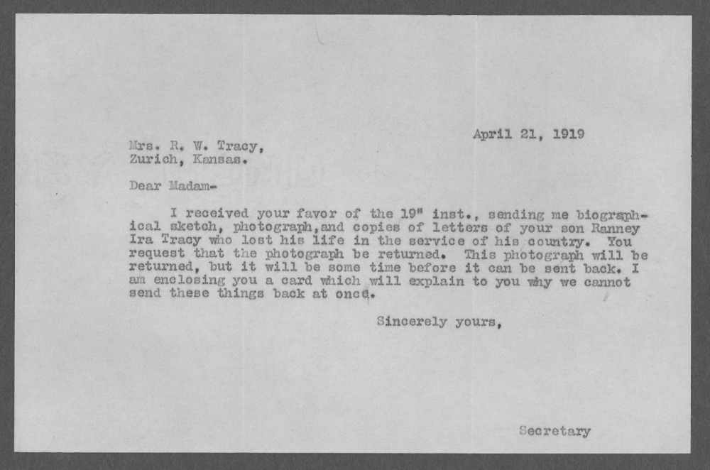 Ramsey Ira Tracy, World War I soldier - 19