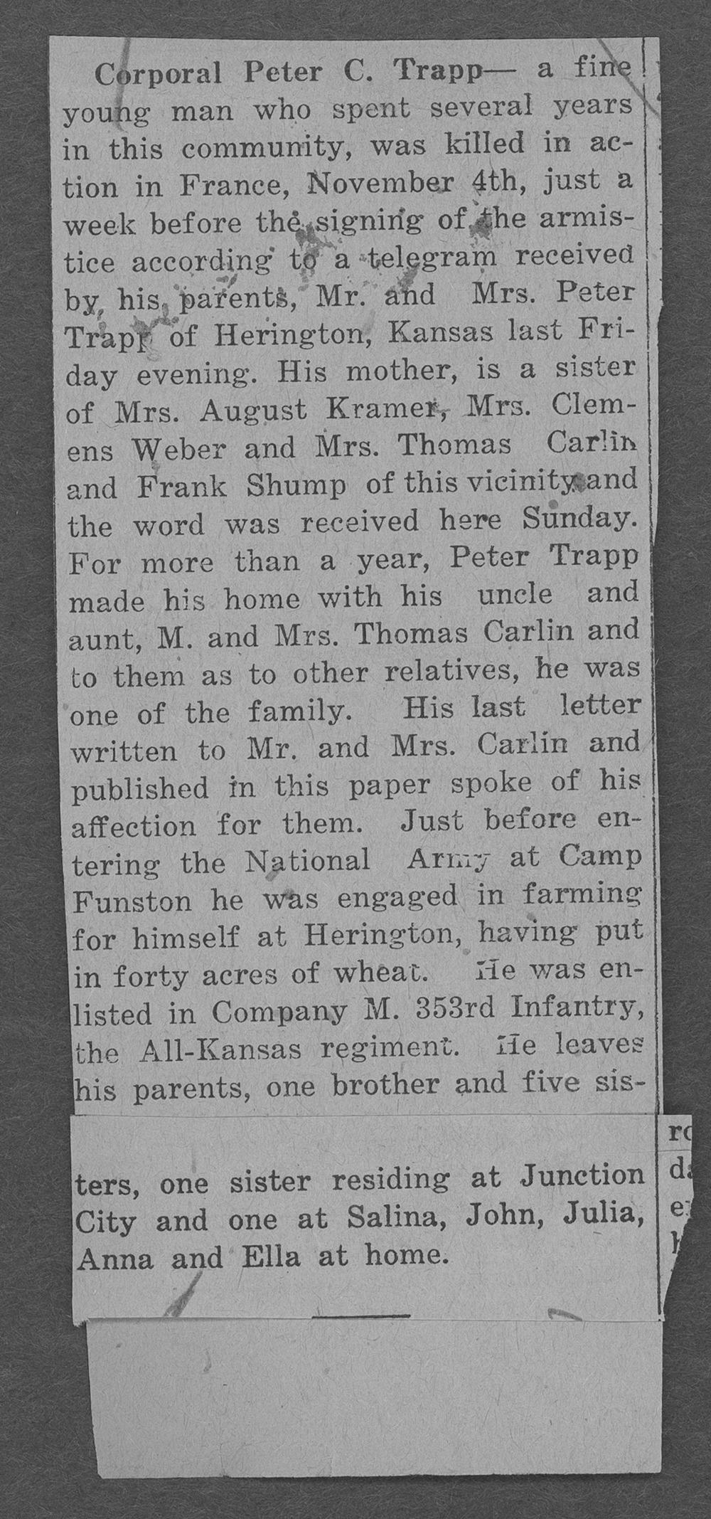 Peter C. Trapp, World War I soldier - 3