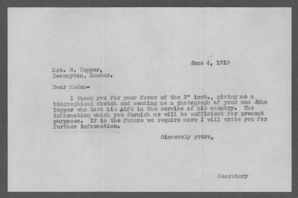 John Tupper, World War I soldier - 9