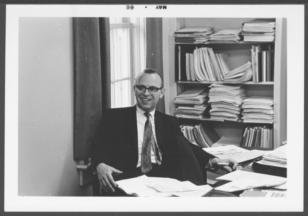 Menninger photograph collection - View of Dr.Robert Wallerstein, Director of Research.  Envelope #2613