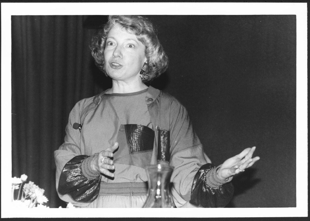 Menninger photograph collection - View of Dr. Kathryn Zerbe speaking to an audience.  Envelope #2785