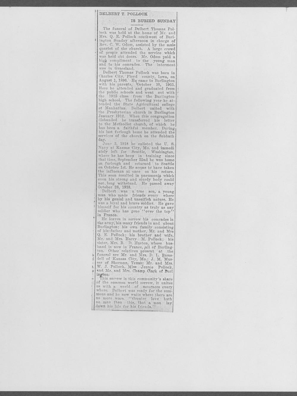Delbert T. Pollock, World War I soldier - 2