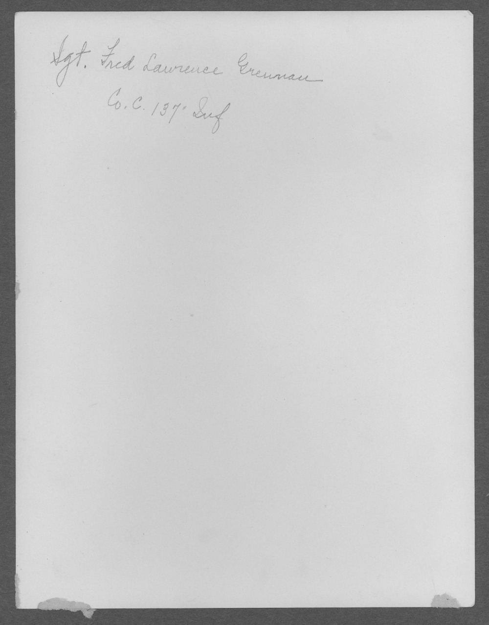 Fred Lawrence Grennan, World War I soldier - 2