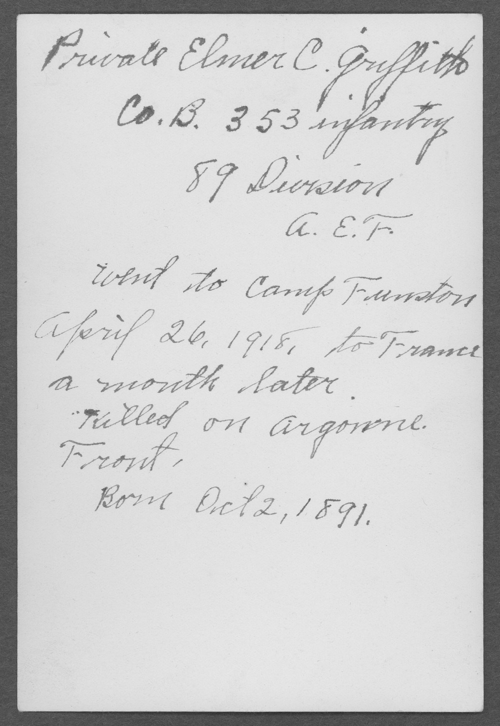 Elmer C. Griffith, World War I soldier - 2