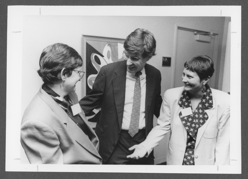 Menninger photograph collection - A photograph of attendees at a social work conference (l to r) Dr. Carolyn Grame, Bessel vander Kolk (guest presenter), and Shirley Anstaedt, 1992.  Envelope 733