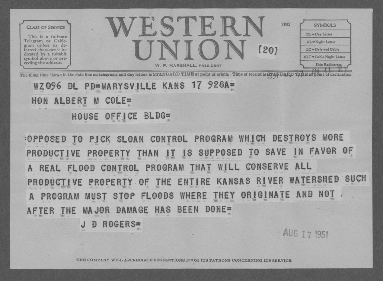 J. D. Rogers to Representative Albert Cole