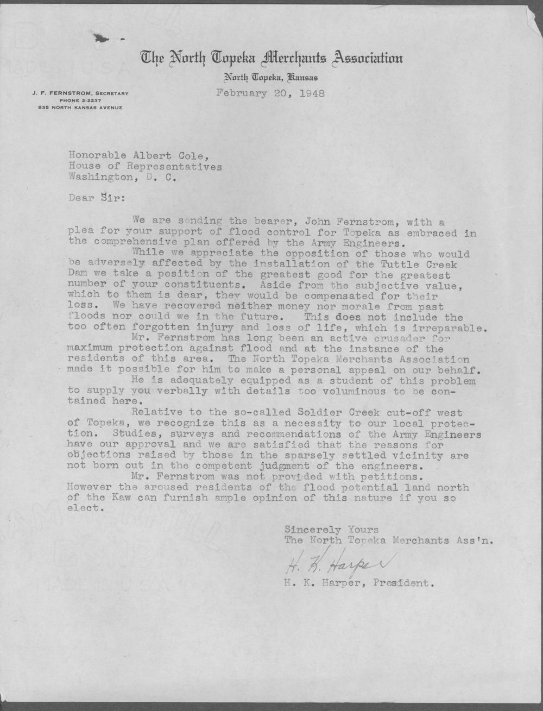 H. K. Harper to Representative Albert Cole - 1
