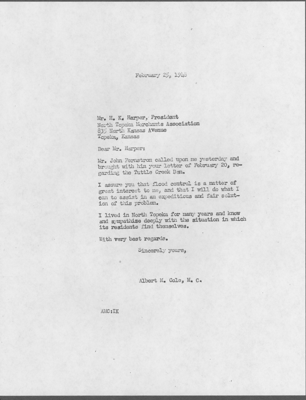 H. K. Harper to Representative Albert Cole - 2
