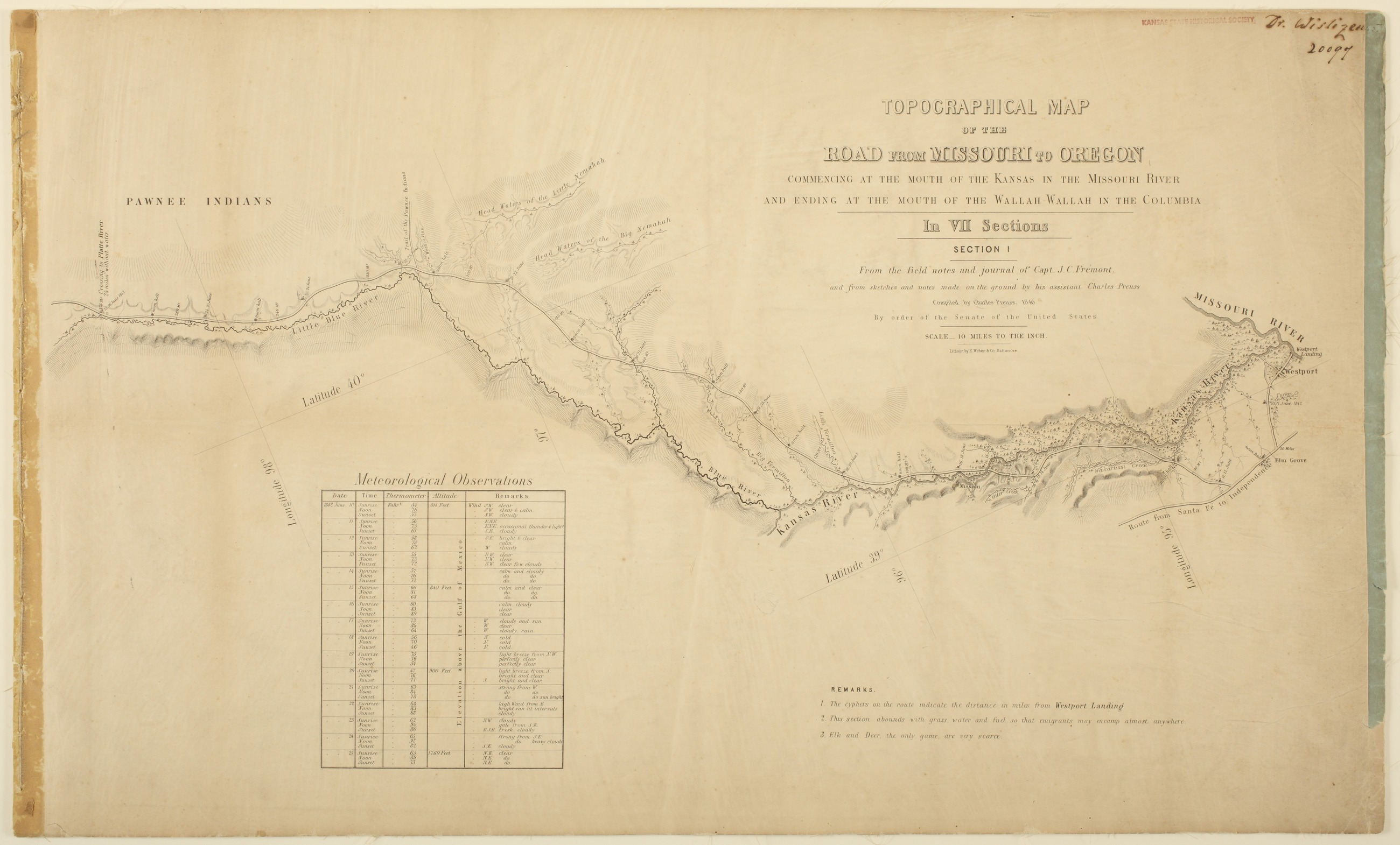 Topographic map of the road from Missouri to Oregon