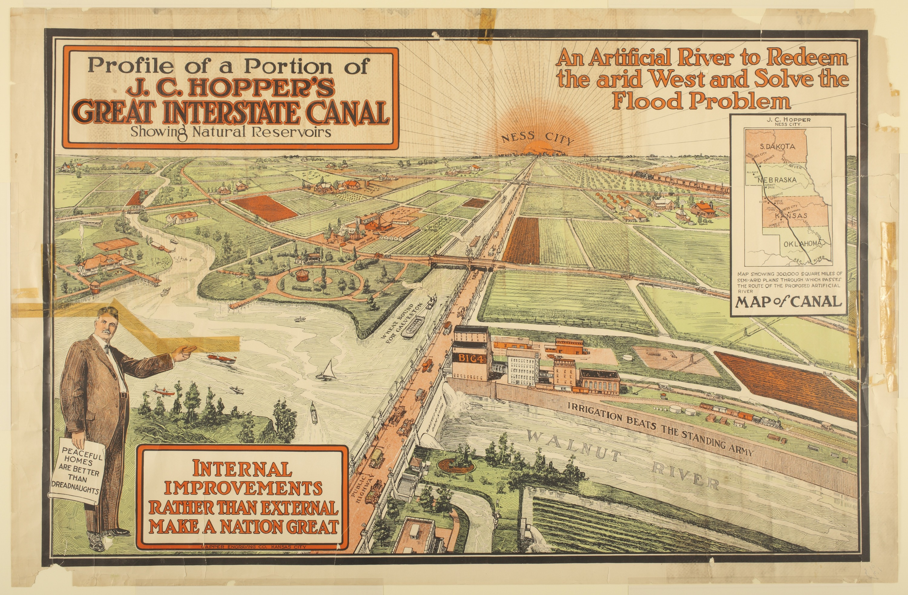 Profile of a portion of J. C. Hopper's Great Interstate Canal showing natural reservoirs